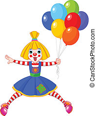 The funny clown girl jumping with balloons. Vector illustration