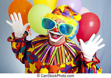 Funny Clown in Big Glasses - Funny birthday clown in...