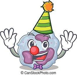 Funny Clown leukocyte cell cartoon character mascot design. ...