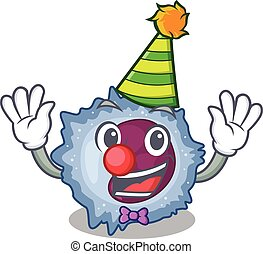 Funny Clown monocyte cell cartoon character mascot design. ...