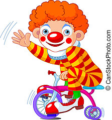 Clown on three-wheeled bicycle - Funny Clown on three-...