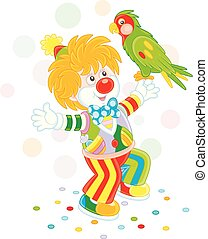 Funny clown playing with a colorful parrot