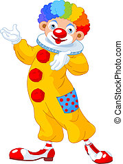 Funny Clown presenting - Illustration of funny clown...