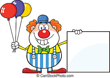 Funny Clown Showing A Blank Sign