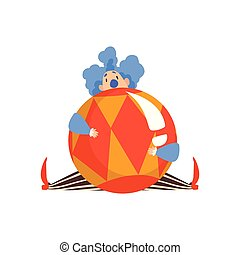 Funny Clown Sitting with Big Ball, Actor Performing in Circus Show Cartoon Vector Illustration