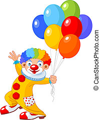 Funny Clown - The funny clown holding balloons. Vector...