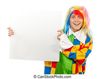 Funny clown with blank board