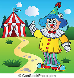 Funny clown with circus tent - vector illustration.