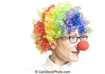 Funny clown woman, female with eyeglasses
