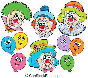 Funny clowns collection - vector illustration.