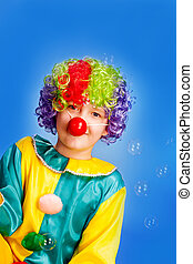 Funny clowns with colored hair