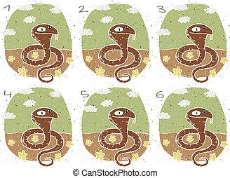 Funny Cobra Visual Game for children. Illustration is in ...