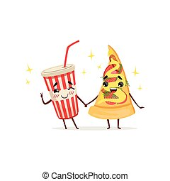 Funny cocktail and slice of pizza characters holding hands. Fast food concept. Isolated flat vector illustration