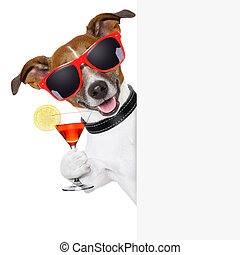 funny cocktail dog holding a martini glass behind a banner