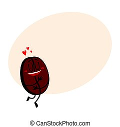 Funny coffee bean character with human face showing love