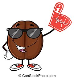 Funny Coffee Bean With Sunglases