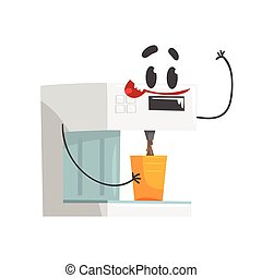 Funny coffee machine character with smiling face, humanized home electrical equipment vector Illustration