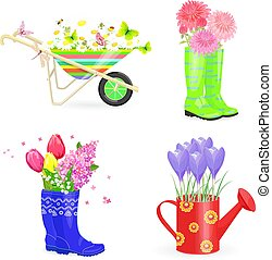 funny collection bouquets of fresh flowers in gardening equipmen