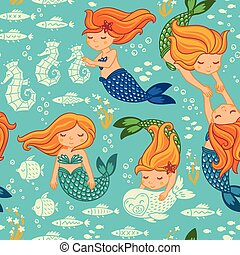 Funny color seamless pattern with mermaids