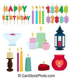 Funny colored candles for birthday party. Cartoon vector set