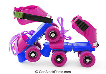 funny colored roller skates on white background