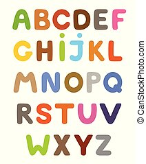 Funny colorful cartoon alphabet. Alphabetical letters ABC for children.