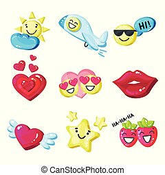 Funny colorful cartoon colorful glossy smile mascot set vector Illustration on a white background