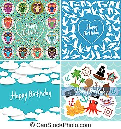 Funny colorful Happy birthday card set. Vector