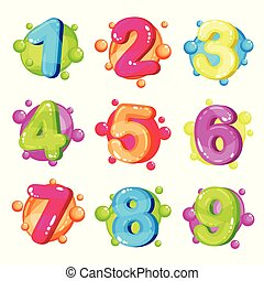 Funny colorful numbers set, kids font vector Illustration on a white background