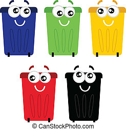 Funny colorful recycle bin mascots isolated on white -...