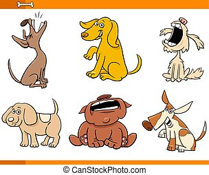 Cartoon Illustration of Funny Comic Dogs Animal Characters Set