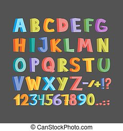 Funny comics font. Hand drawn lowcase and uppercase colorful cartoon English alphabet letters. Vector illustration