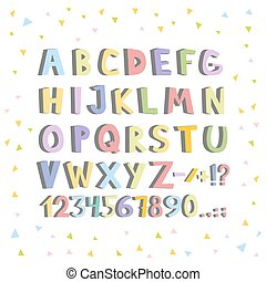 Funny comics font. Hand drawn lowcase colorful cartoon English alphabet letters. Vector illustration