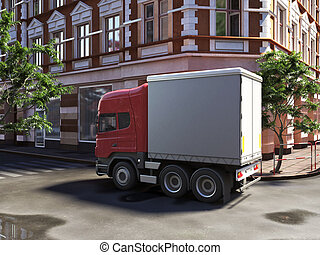 funny concept lorry at the street  made in 3d
