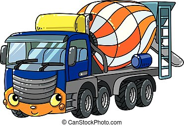 Funny concrete mixer truck with eyes and mouth - Concrete...
