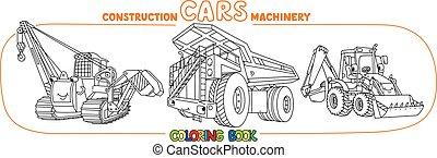 Funny construction equipment car set Coloring book
