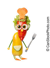 Funny cook with fork made of vegetables