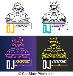 Funny cool vector dj logo. Charismatic disc jockey at the turntable. Music logotype template. For accessory, brand, identity, logotype, company, shop, dj party. Mp3 sign.