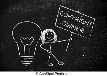 funny copyright owner girl with her idea, concept of...