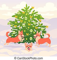 Funny corgi dogs playing on snow near decorated Christmas tree. Vector. Symbol of 2018. Happy New year. Merry Xmas.