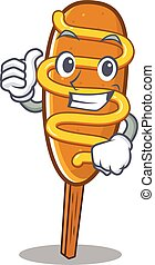 Funny corn dog making Thumbs up gesture