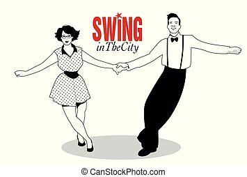 Funny couple dancing swing, rock or lindy hop
