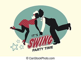 Funny couple dressed in retro style dancing swing or lindy hop. Comic style.