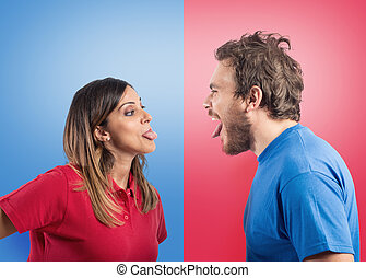 Funny couple joke with grimaces on colored background