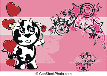 funny cow cartoon background2