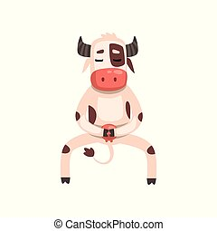 Funny cow cartoon character doing physical exercises vector...