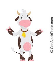 Funny cow cartoon character, happy cow vector illustrarion, logo template.