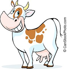 funny cow cartoon standing isolated
