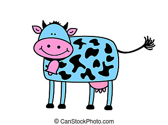 Funny cow, object isolated, animal series, illustration,...