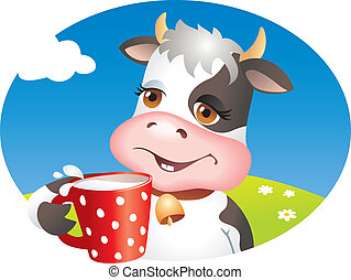 Funny cow drinking cup of milk